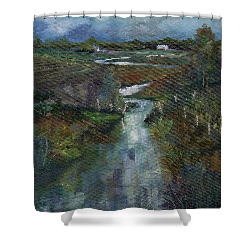 River Shower Curtain featuring the painting Laramie River Valley by Heather Coen