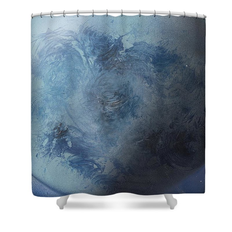 Spray Paint Shower Curtain featuring the painting Large Earth From Above by George Robert Allen