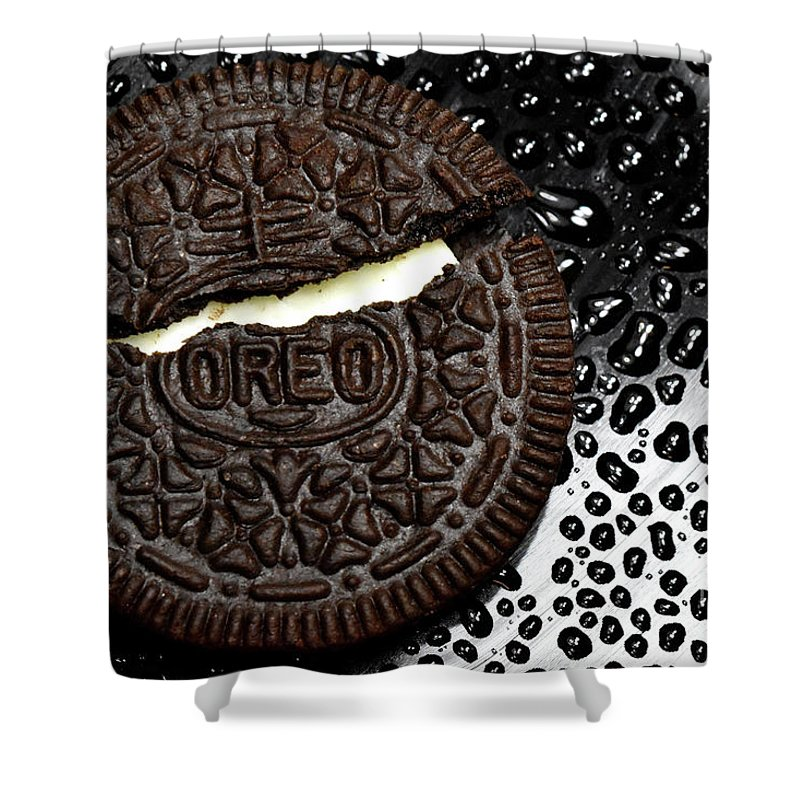 Cookie Shower Curtain featuring the photograph Large Oreo Cookie 2 by Nancy Mueller