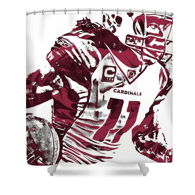 Larry Fitzgerald Shower Curtain featuring the mixed media Larry Fitzgerald Arizona Cardinals Pixel Art 1 by Joe Hamilton