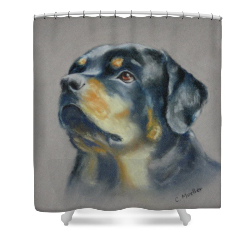 Dog Shower Curtain featuring the painting Lars by Carol Mueller
