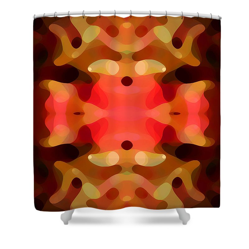 Abstract Painting Shower Curtain featuring the digital art Las Tunas Abstract Pattern by Amy Vangsgard
