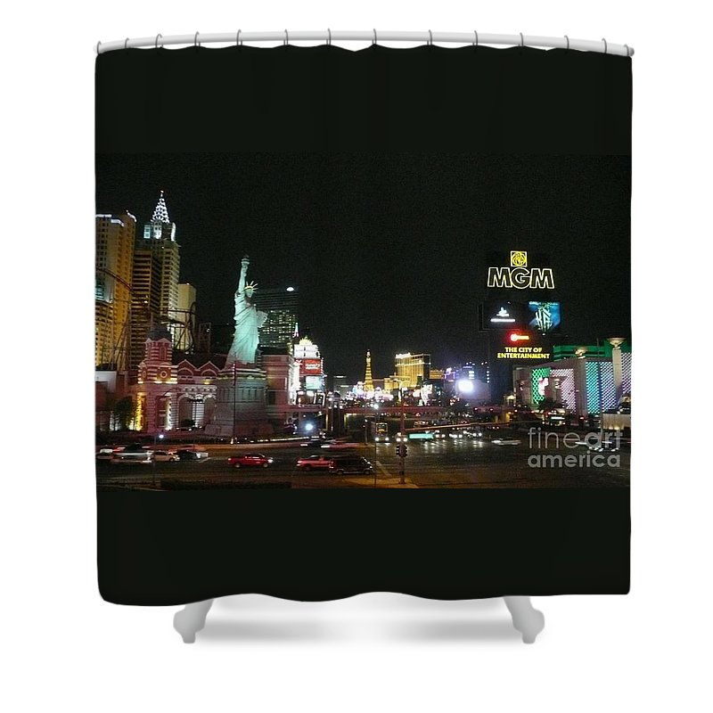 Las Vegas Shower Curtain featuring the photograph Las Vegas Strip At Night by Barb Montanye Meseroll