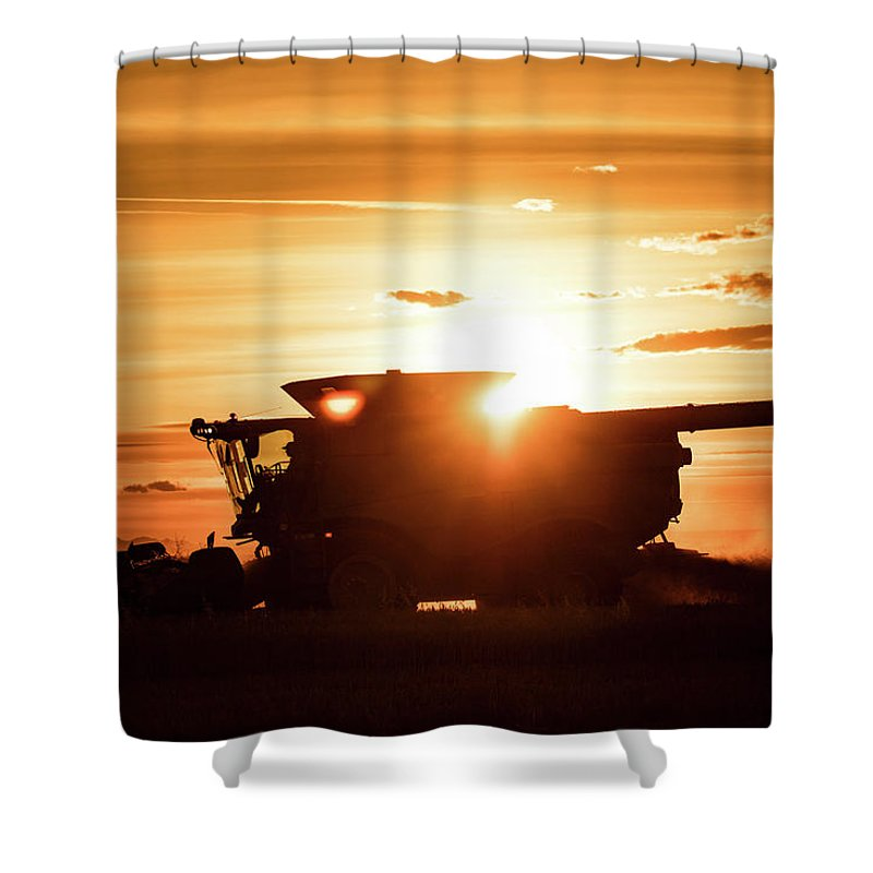 Harvester Shower Curtain featuring the photograph Last Bit Of Sun by Todd Klassy
