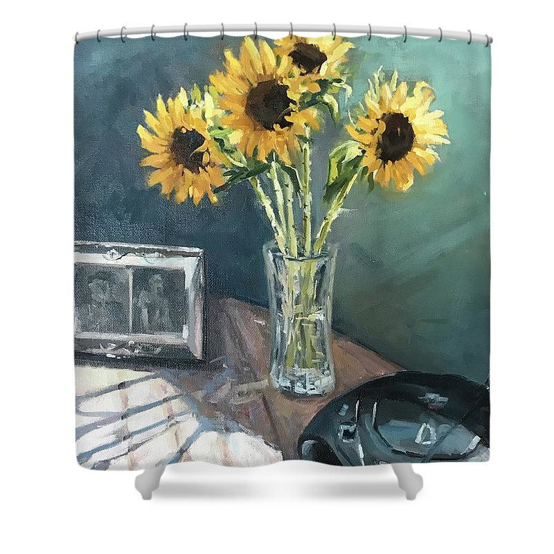 Sunflowers Shower Curtain featuring the painting Last Days by Vlad Duchev