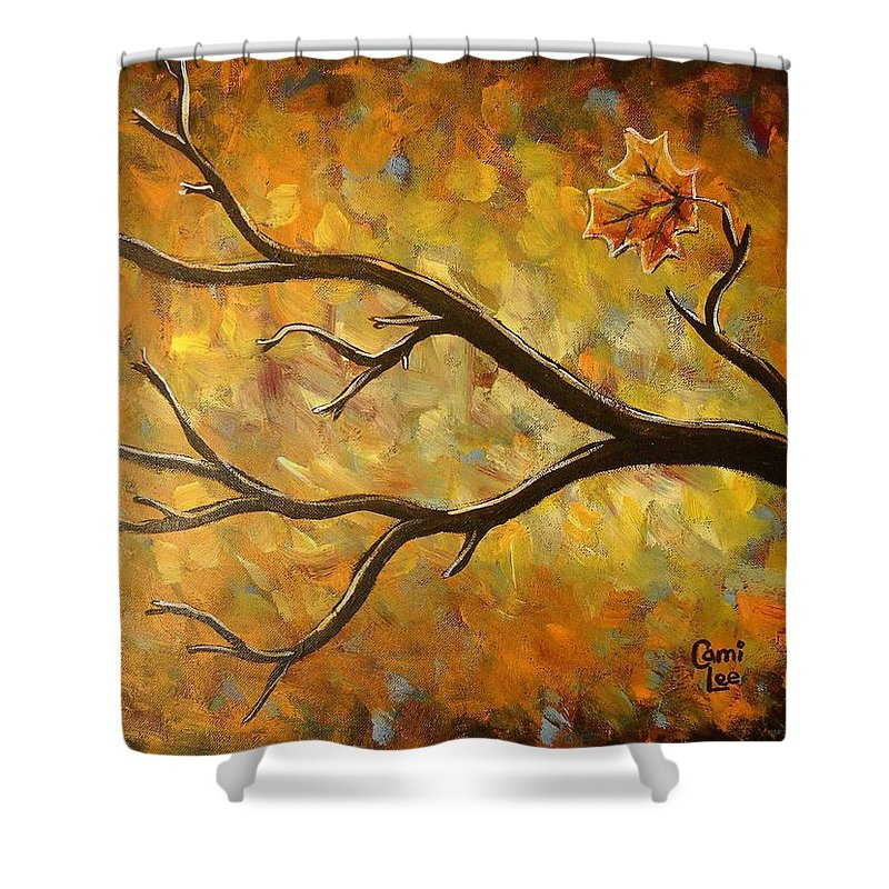 Autumn Shower Curtain featuring the painting Last Leaf by Cami Lee