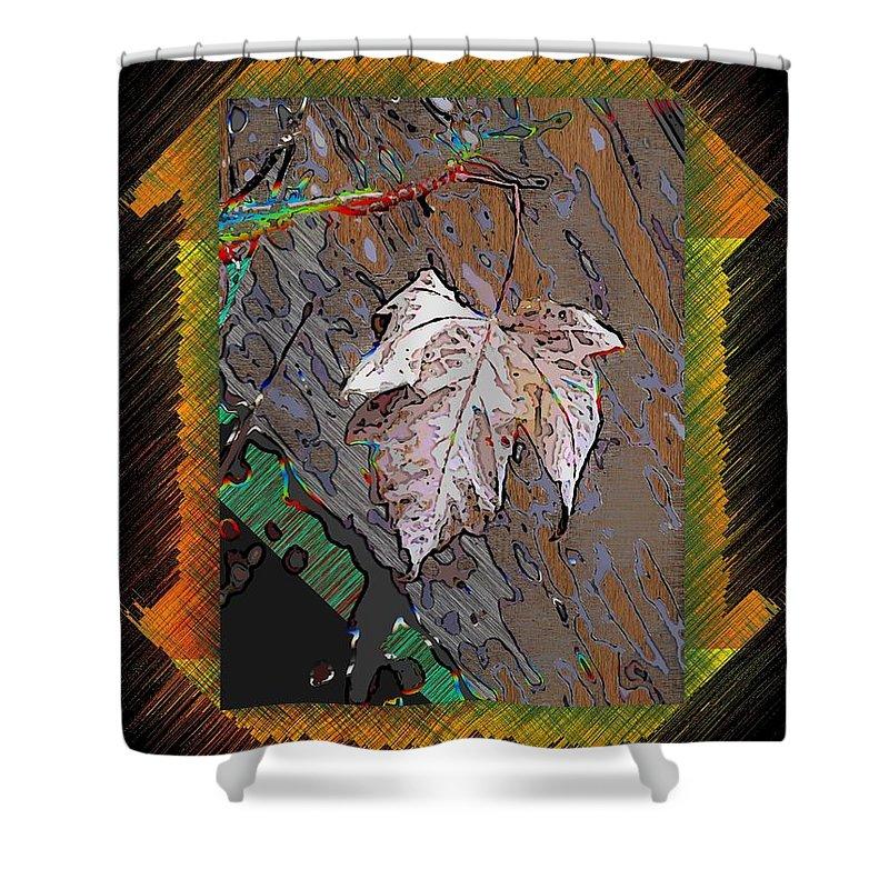 Leaf Shower Curtain featuring the digital art Last Leaf Standing by Tim Allen