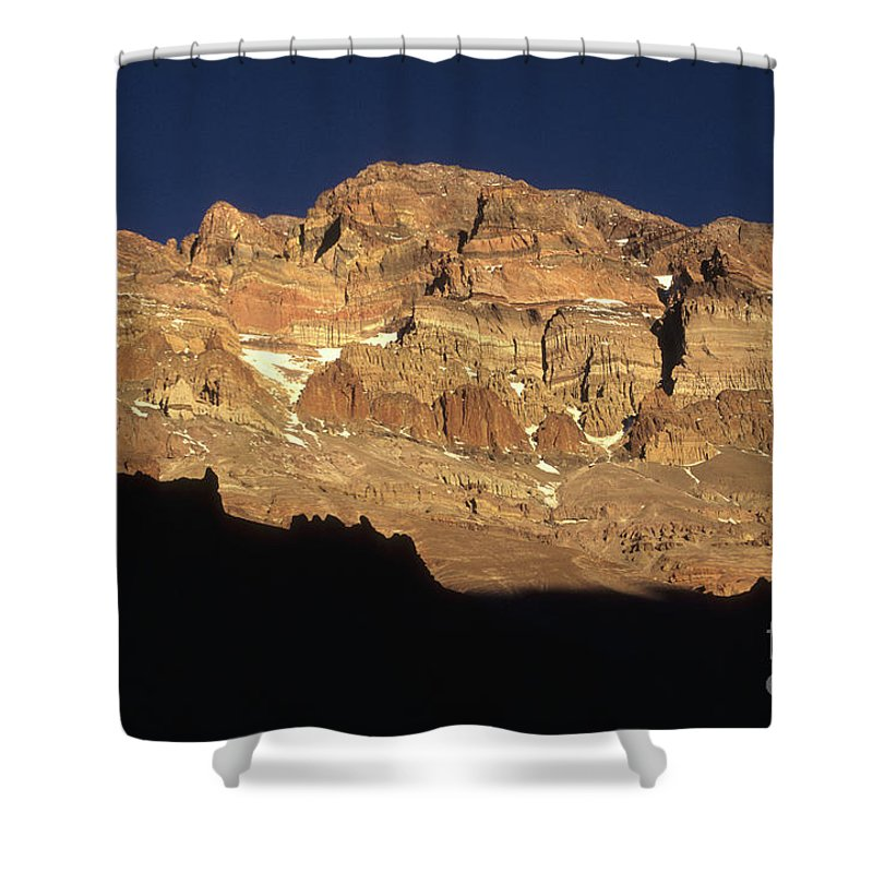 Aconcagua Shower Curtain featuring the photograph Last Light On Mt Aconcagua by James Brunker