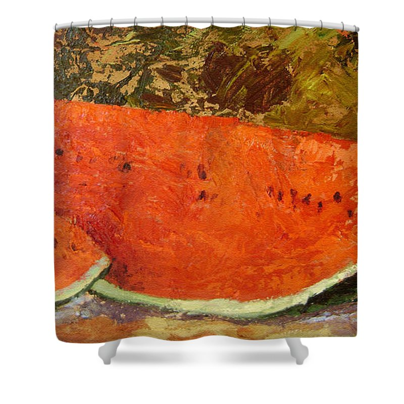 Watermelon Shower Curtain featuring the painting Last Of Summer by Ginger Concepcion