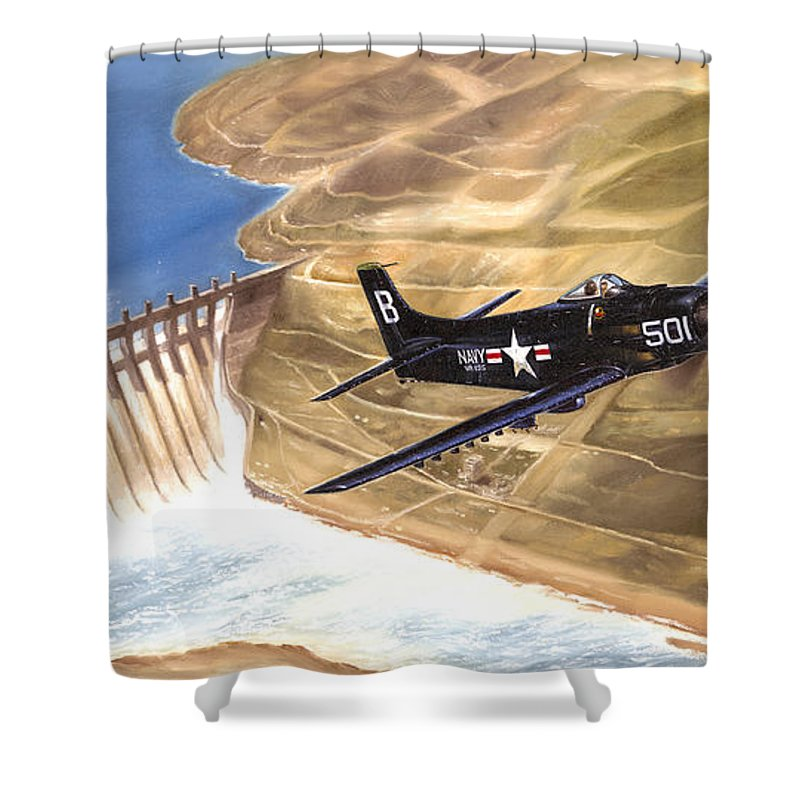 Military Shower Curtain featuring the painting Last Of The Dambusters by Marc Stewart