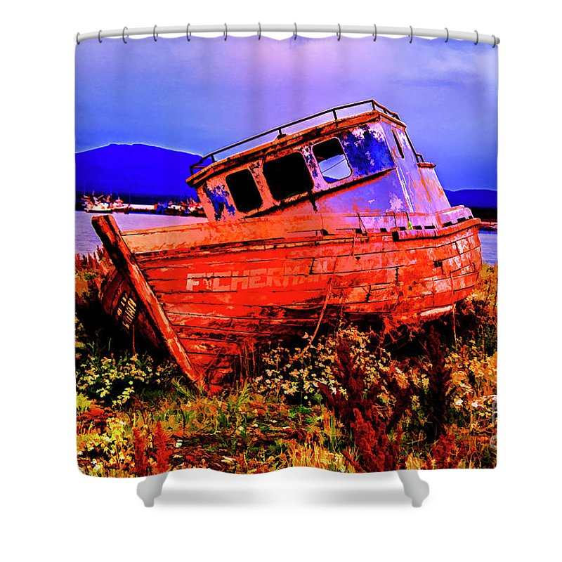 Notales Chile Old Boats Artist Rendetions Shower Curtain featuring the photograph Last Red Boat by Rick Bragan