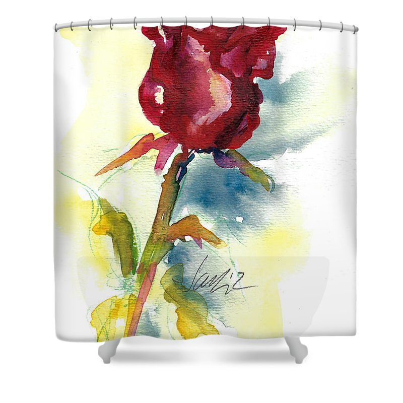 Rose Painting Shower Curtain featuring the painting Last Rose Of Summer by Jacki Kellum
