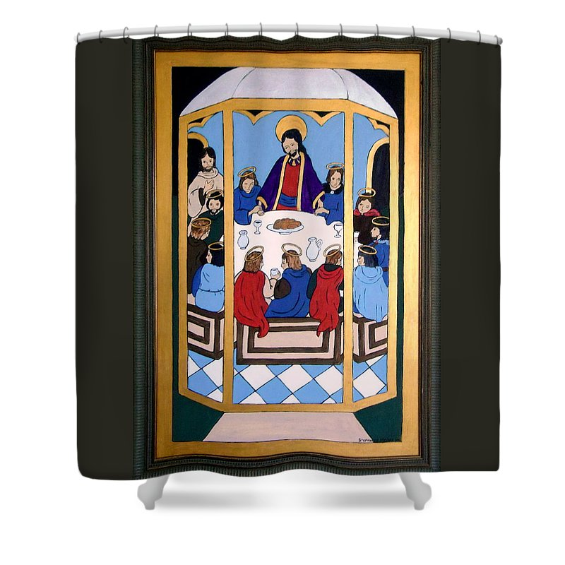 Christ Shower Curtain featuring the painting Last Supper by Stephanie Moore