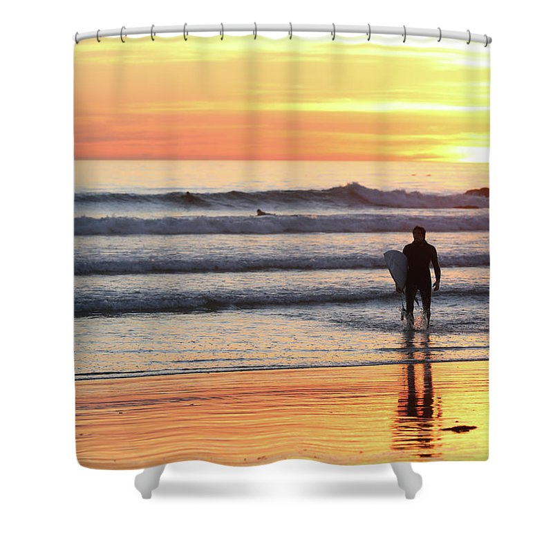 Sunset Shower Curtain featuring the photograph Last Wave Of The Day by George Hobbs