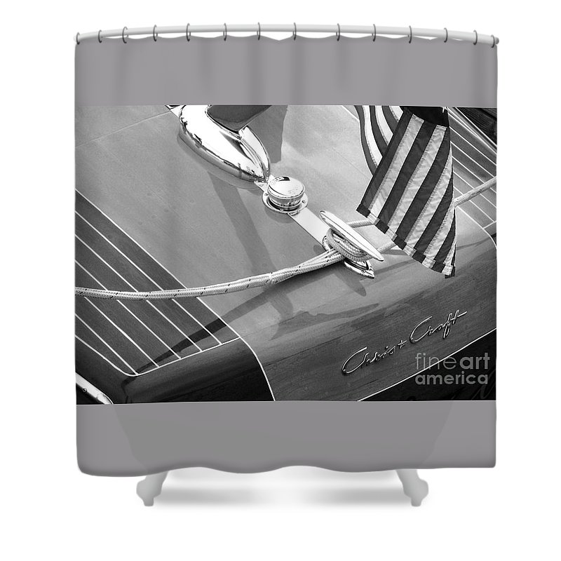 Chris Craft Shower Curtain featuring the photograph Late 1940's Chris Craft Custom by Neil Zimmerman