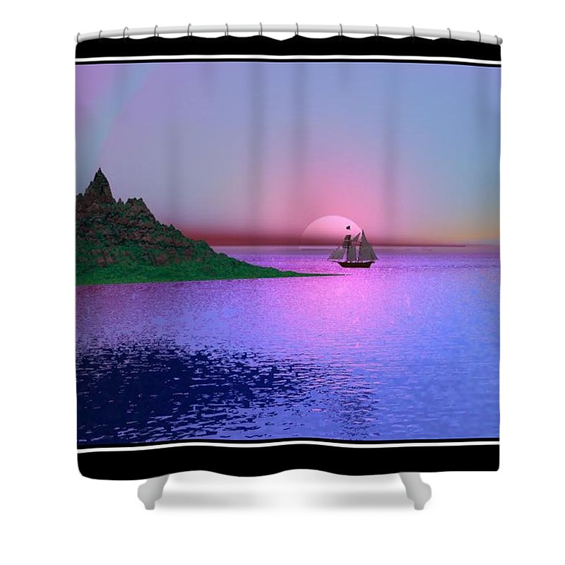 Late Afternoon Seascape Landscape Print Canvas Posterrealisn Art Digital Sea Ship Sail Sailing View William Ballester Abstract Landscapes Canvas Prints Shower Curtain featuring the digital art Late Afternoon by William Ballester