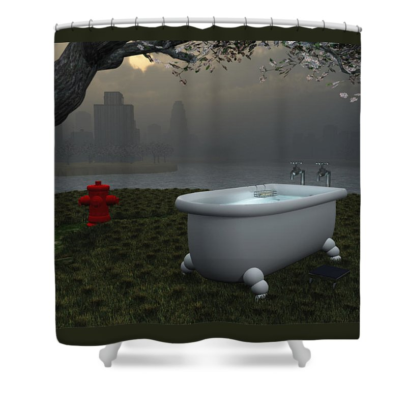 Bathtub Shower Curtain featuring the digital art Late At Night... - Tard Le Soir... by R Fafard