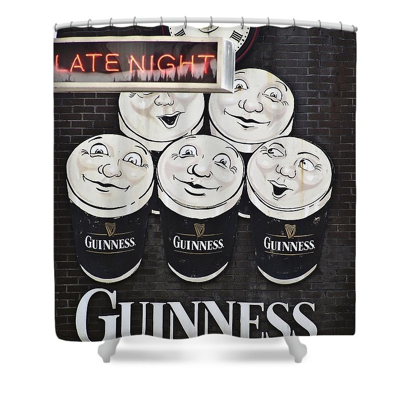 Guinness Shower Curtain featuring the photograph Late Night Guinness Limerick Ireland by Teresa Mucha