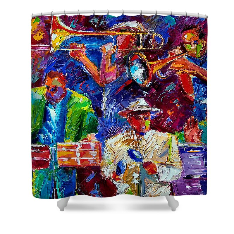 Jazz Shower Curtain featuring the painting Latin Jazz by Debra Hurd