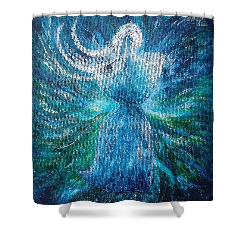 Latte Stone Shower Curtain featuring the painting Latte Stone Woman by Michelle Pier