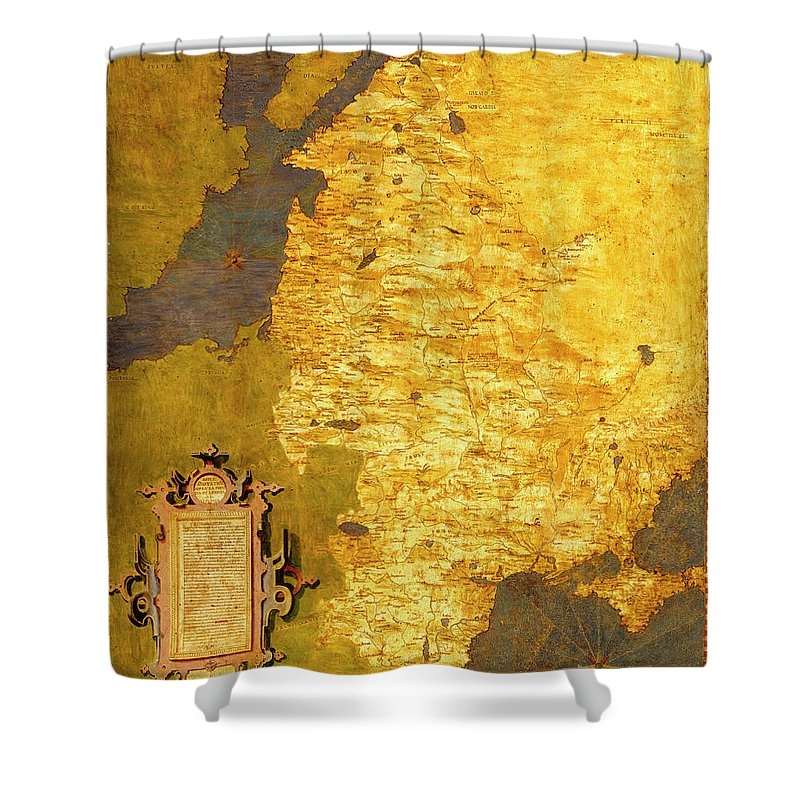 Map Shower Curtain featuring the painting Latvia And Lithuania by Italian painter of the 16th century