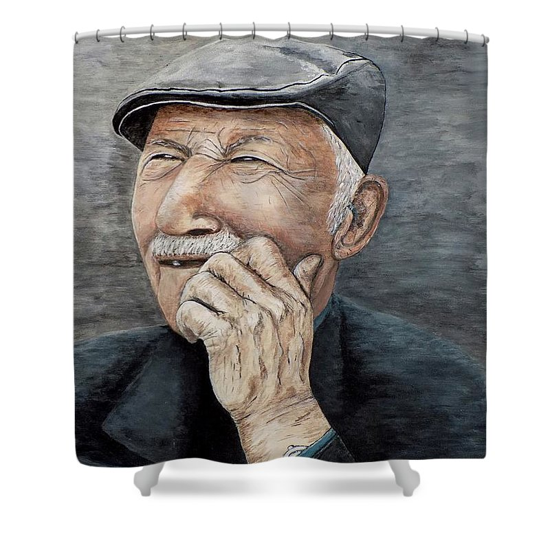 Old Man Shower Curtain featuring the painting Laughing Old Man by Judy Kirouac