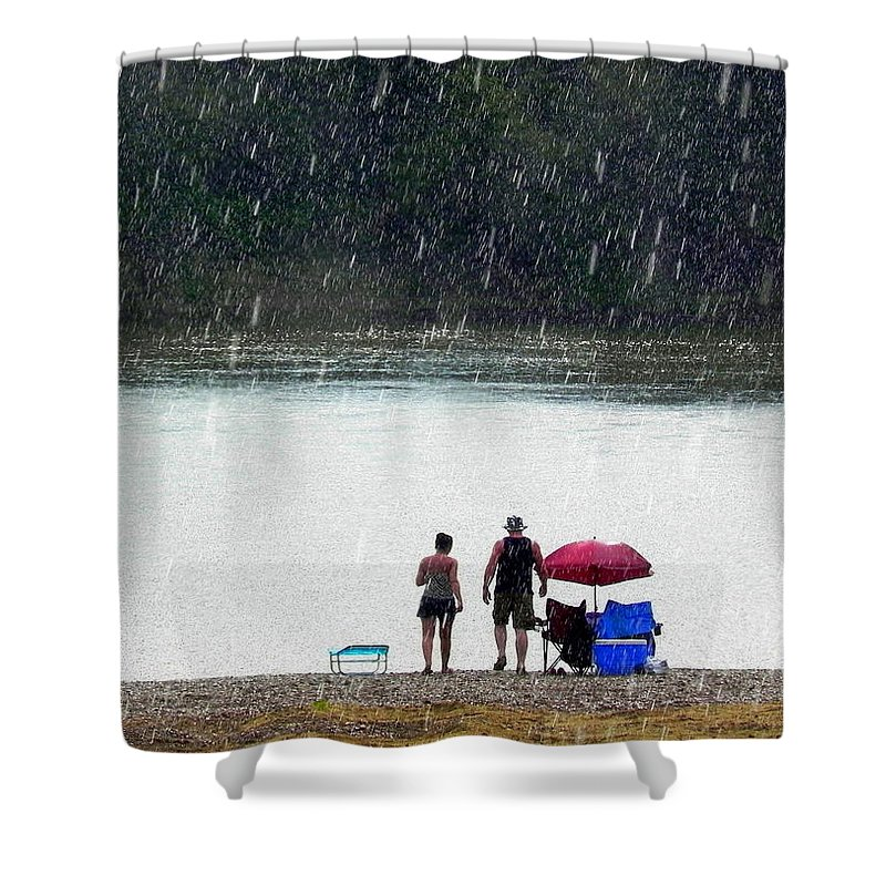 Rain Shower Curtain featuring the photograph #171 Laughter In The Rain by Delana Epperson