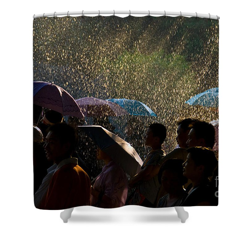 Rain Shower Curtain featuring the photograph Laughter In The Rain by Venetta Archer