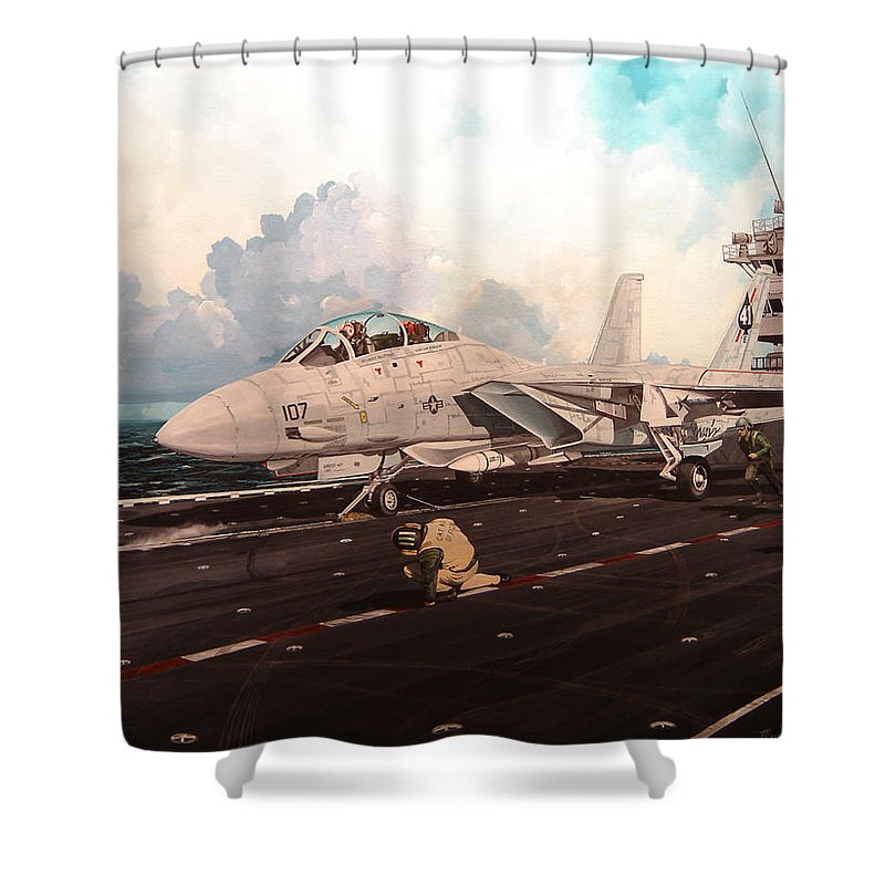 Military Shower Curtain featuring the painting Launch The Alert 5 by Marc Stewart