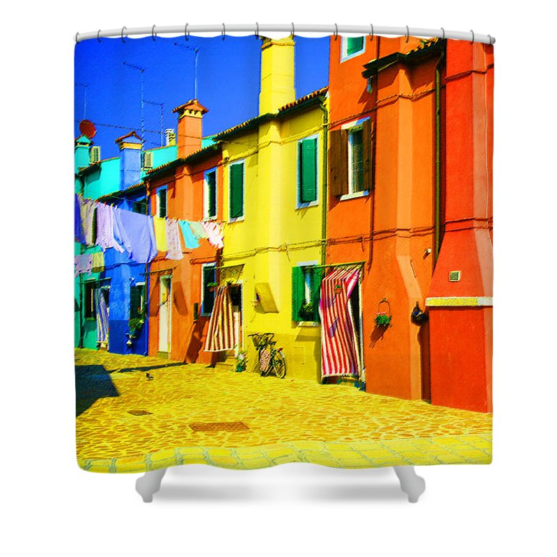 Burano Shower Curtain featuring the photograph Laundry Between Chimneys by Donna Corless