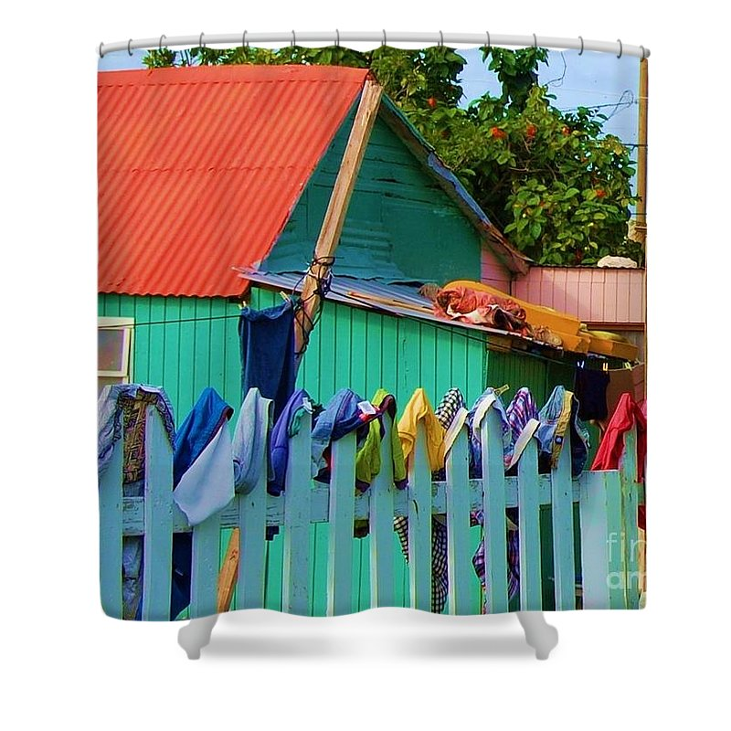 Clothes Shower Curtain featuring the photograph Laundry Day by Debbi Granruth