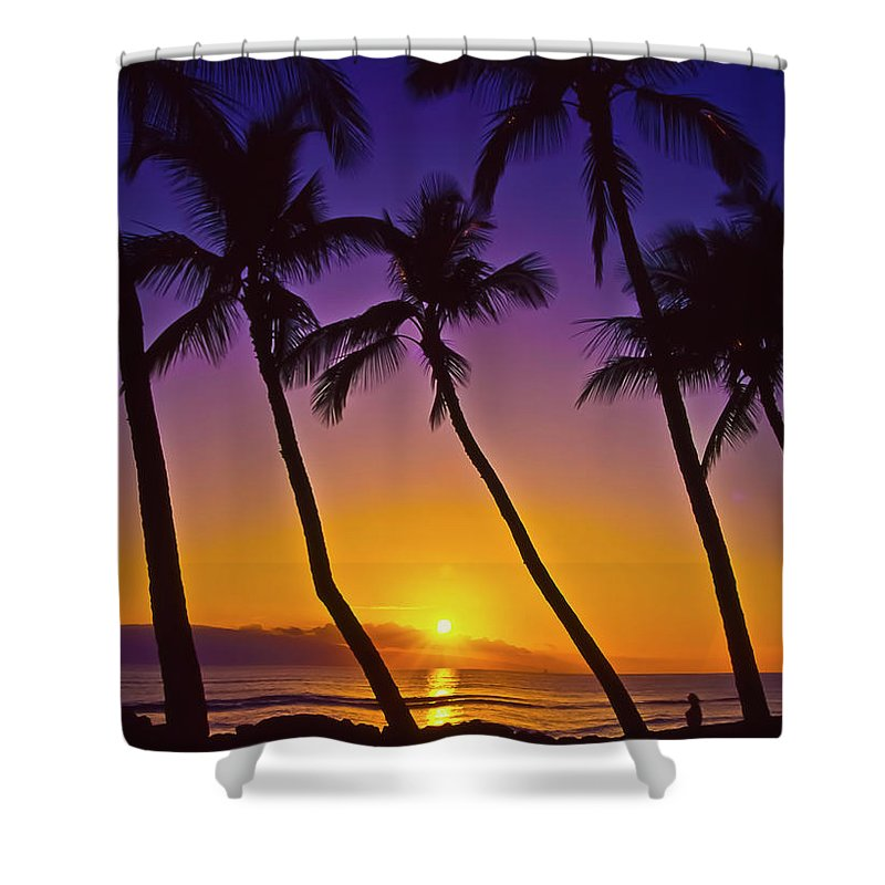 Sunset Shower Curtain featuring the photograph Launiupoko Sunset by Jim Cazel