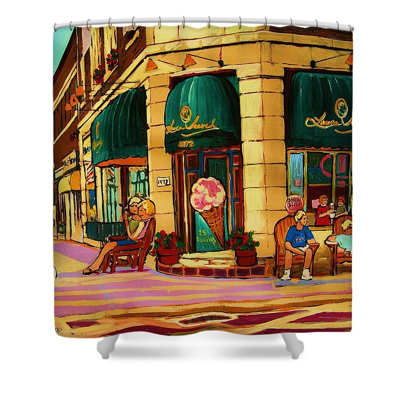 Montreal Streetscenes Shower Curtain featuring the painting Laura Secord Candy And Cone Shop by Carole Spandau