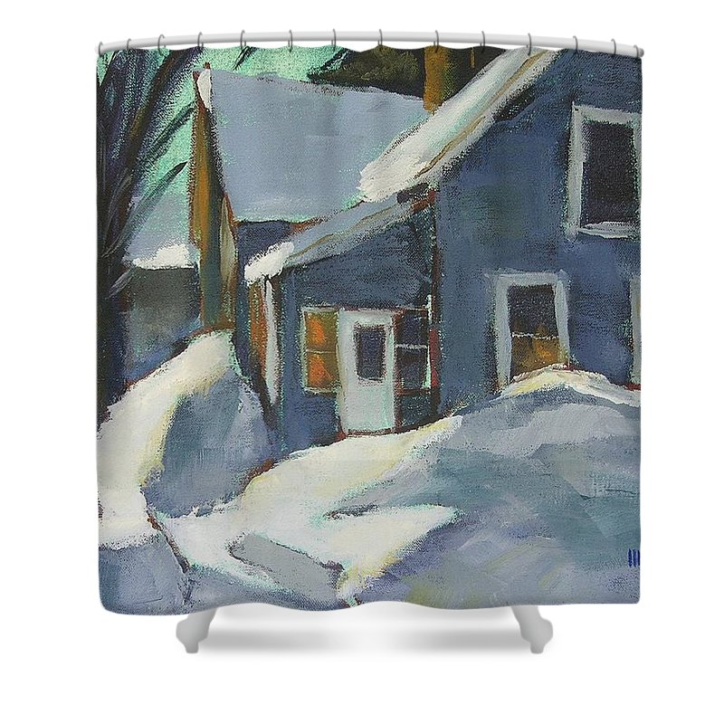 Oil Shower Curtain featuring the painting Laura's House by Mary McInnis
