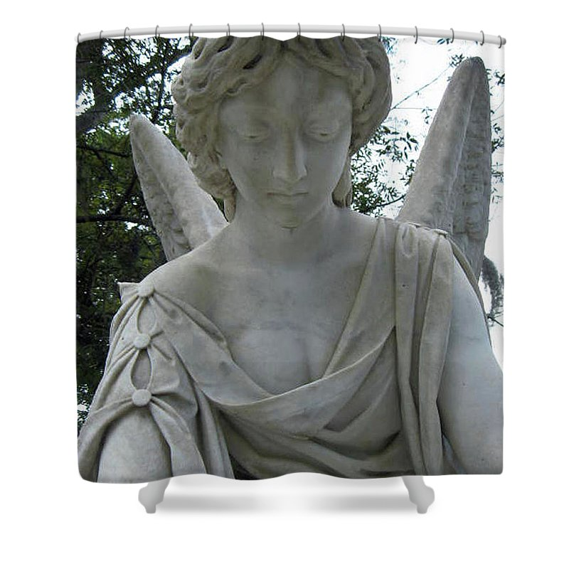 Laurel Shower Curtain featuring the photograph Laurel Grove Angel #1 by Lisa Erin Brown