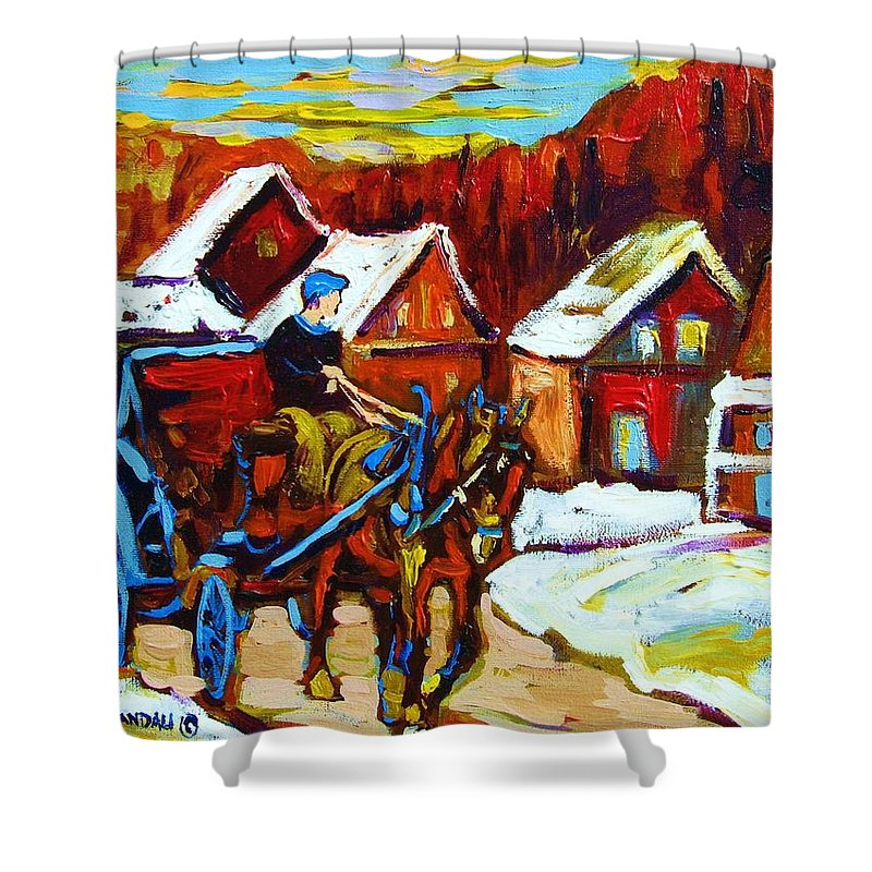 Horse And Carriage Shower Curtain featuring the painting Laurentian Village Ride by Carole Spandau