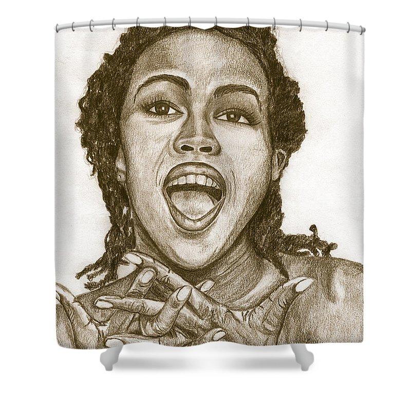 Lauryn Hill Shower Curtain featuring the painting Lauryn Hill by Debbie DeWitt