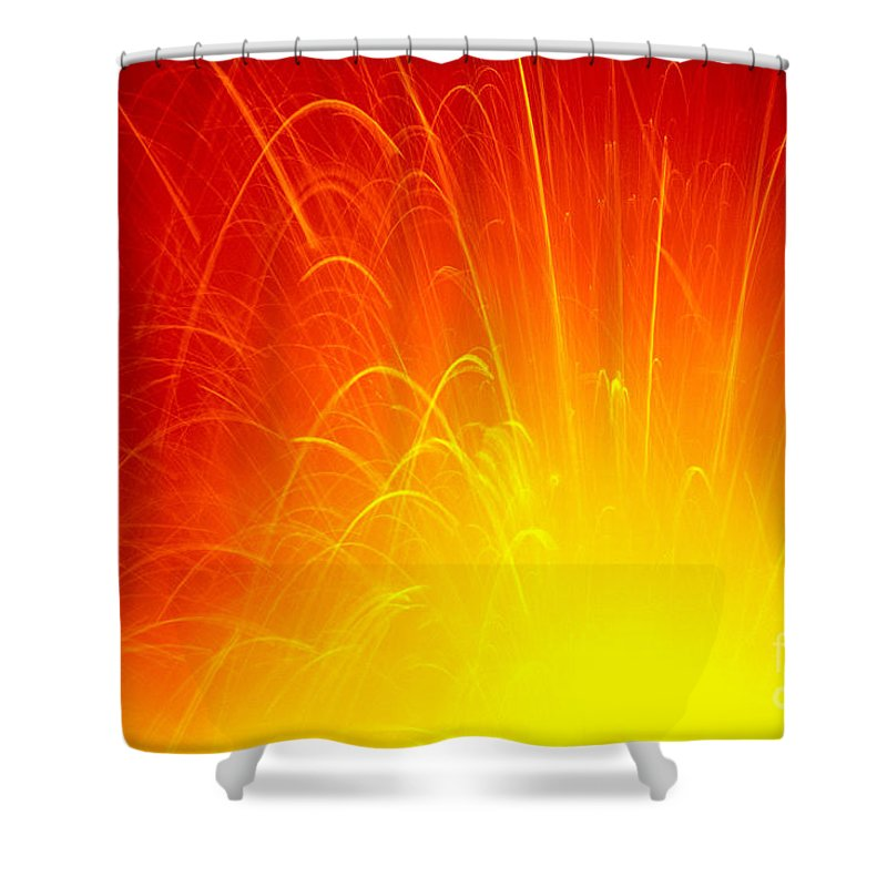 A'a Shower Curtain featuring the photograph Lava Explodes Into Ocean by Peter French - Printscapes
