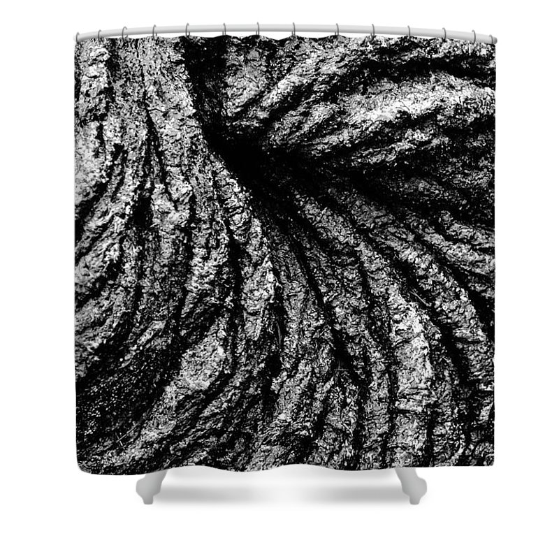 Abstract Shower Curtain featuring the photograph Lava Patterns - Bw by Carl Shaneff - Printscapes