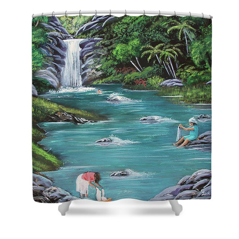 Quebrada Shower Curtain featuring the painting Lavando Ropa  Washing Clothes by Luis F Rodriguez