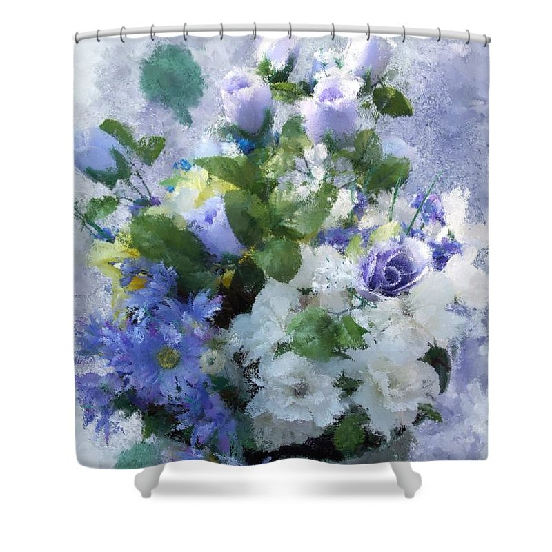 Flowers Shower Curtain featuring the painting Lavender Blue by Jamie Holbrook