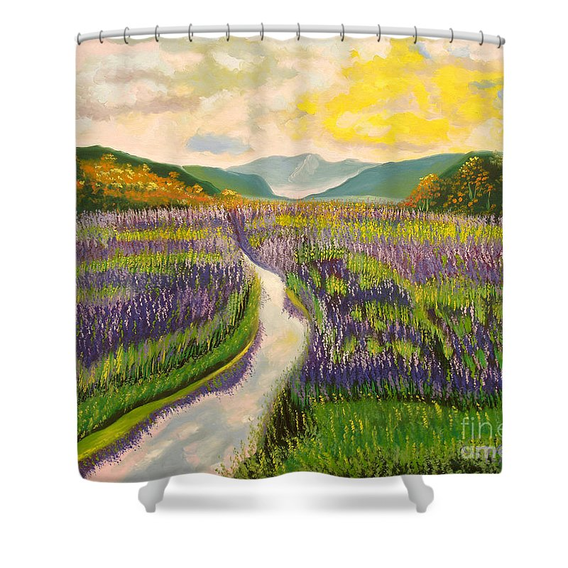 Landscapes Shower Curtain featuring the painting Lavender Brook by Milagros Palmieri