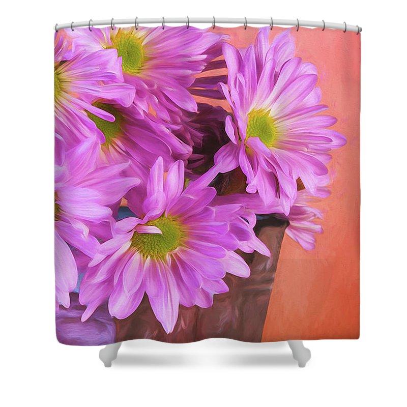 Daisy Shower Curtain featuring the photograph Lavender Daisies by Tom Mc Nemar