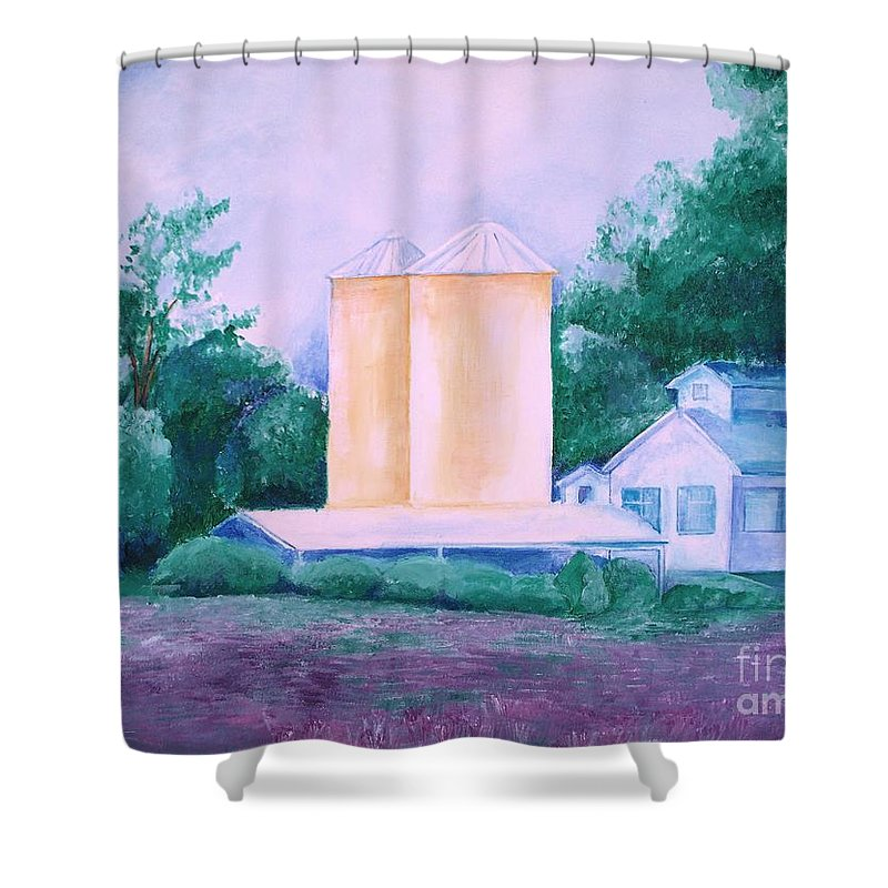 Western Shower Curtain featuring the painting Lavender Farm Albuquerque by Eric Schiabor