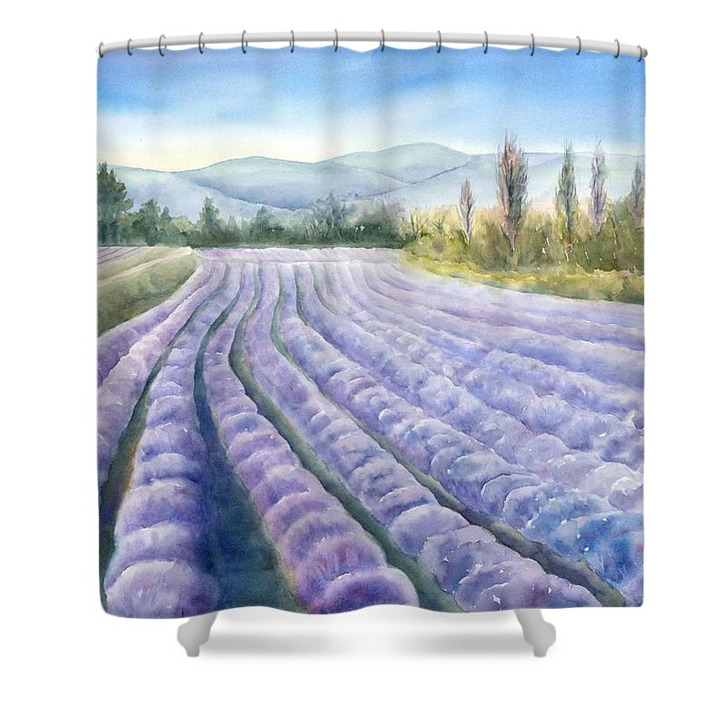Landscape Shower Curtain featuring the painting Lavender Field by Michiko Taylor