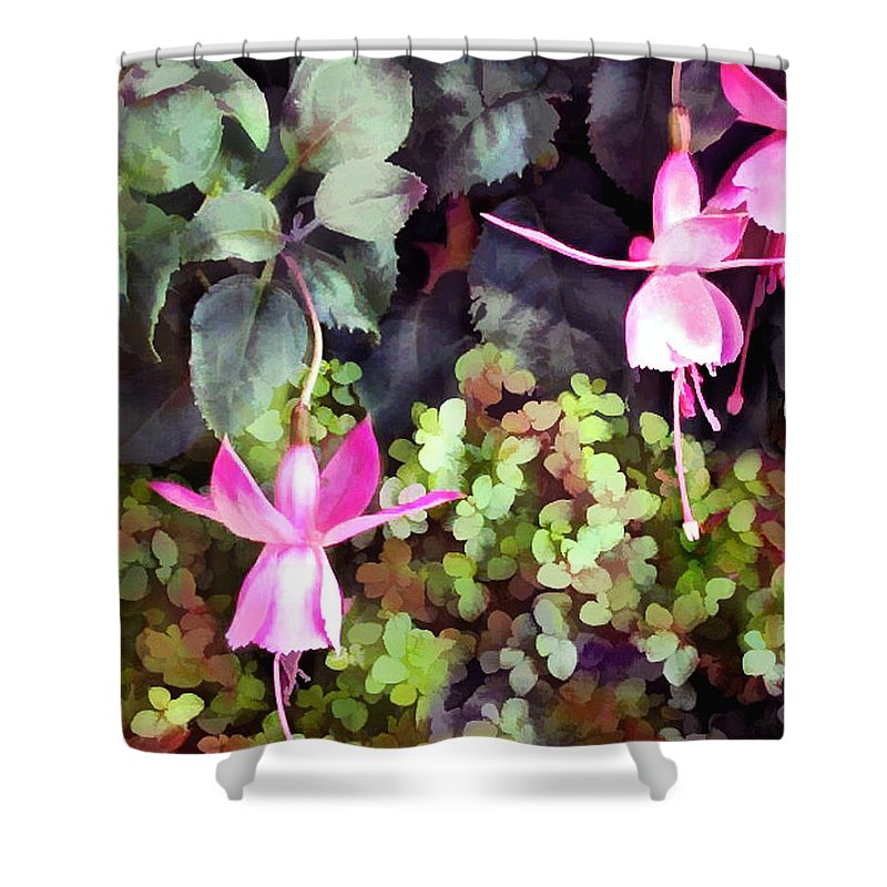 Nature Shower Curtain featuring the painting Lavender Fuchsias Just Hanging Around The Garden by Elaine Plesser
