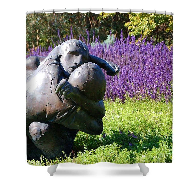 Statue Shower Curtain featuring the photograph Lavender Lovers by Debbi Granruth