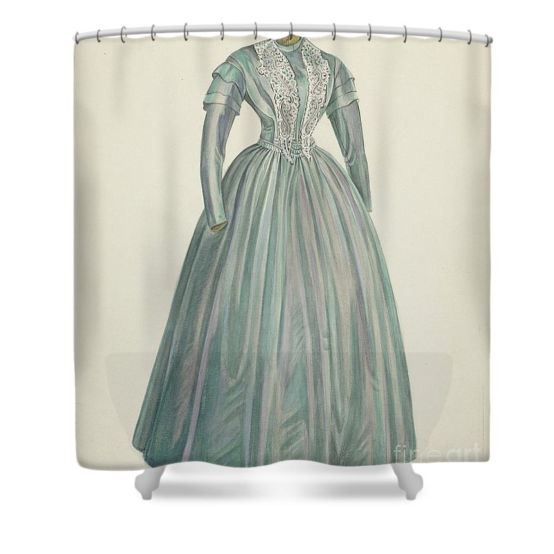 Shower Curtain featuring the drawing Lavender Taffeta Dress by American 20th Century