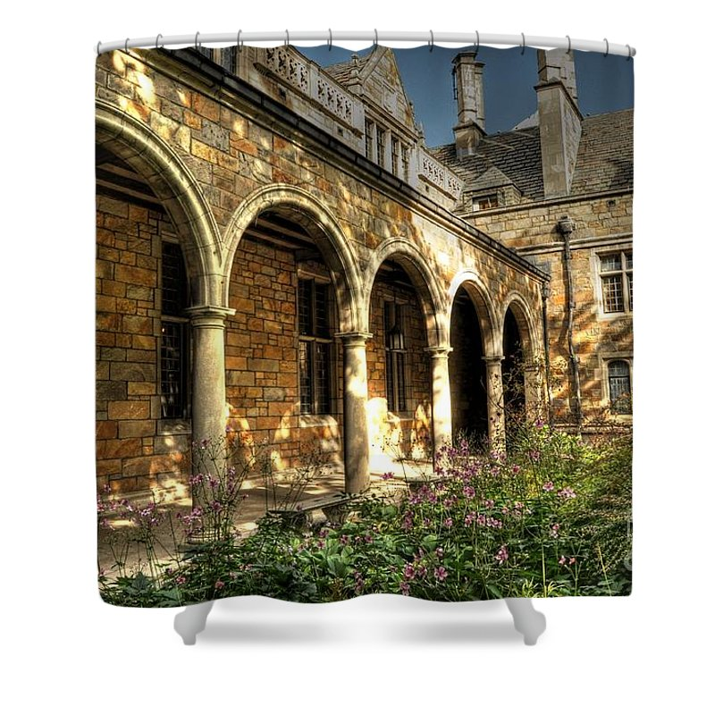 Chris Fleming Shower Curtain featuring the photograph Lawyer's Club Arches by Chris Fleming