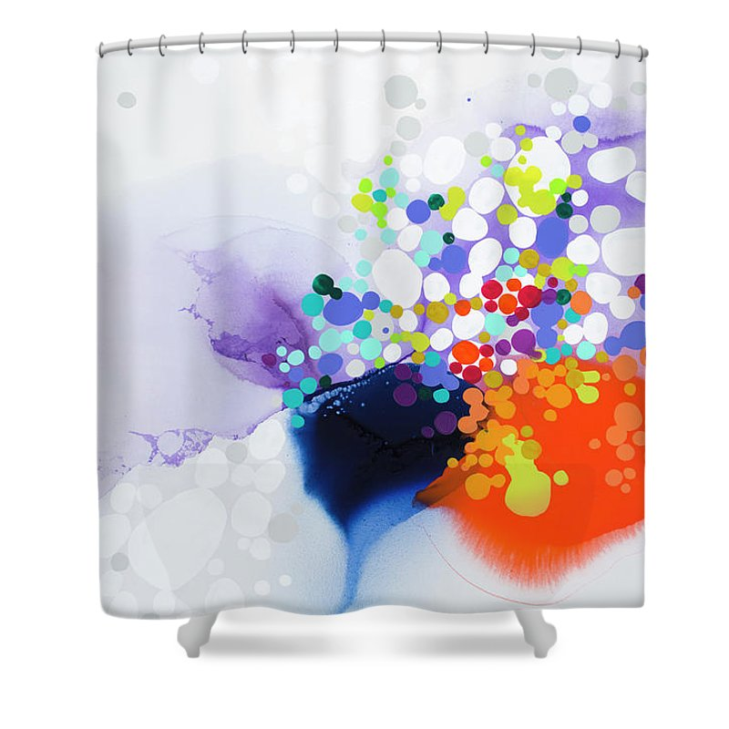 Abstract Shower Curtain featuring the painting Lay The Blame by Claire Desjardins